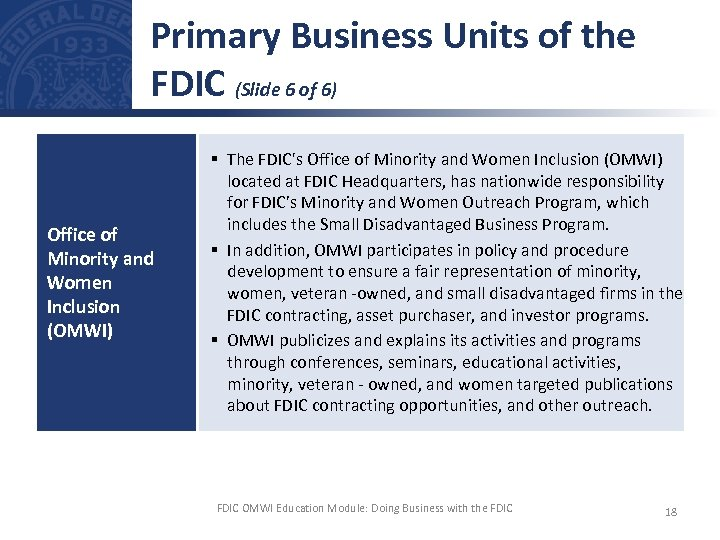 Primary Business Units of the FDIC (Slide 6 of 6) Office of Minority and