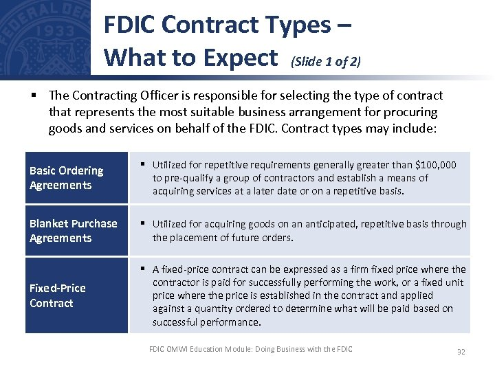 FDIC Contract Types – What to Expect (Slide 1 of 2) § The Contracting