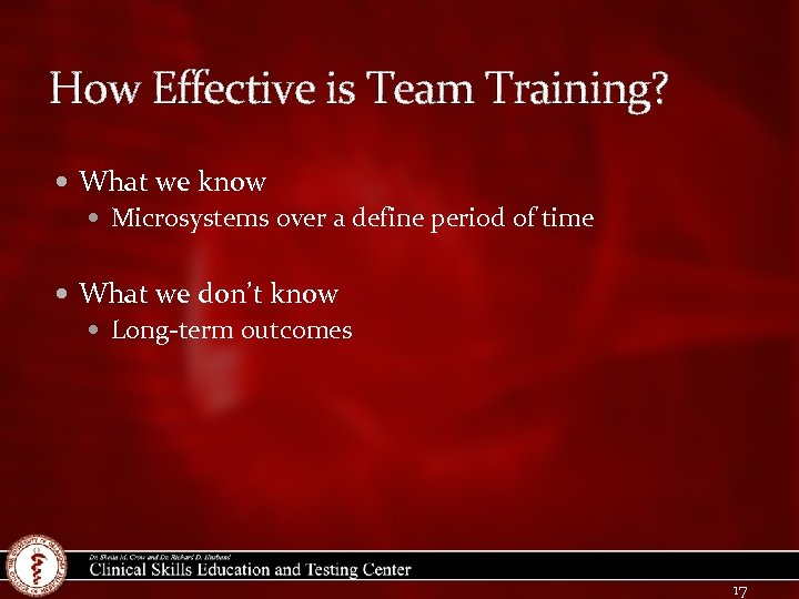How Effective is Team Training? What we know Microsystems over a define period of