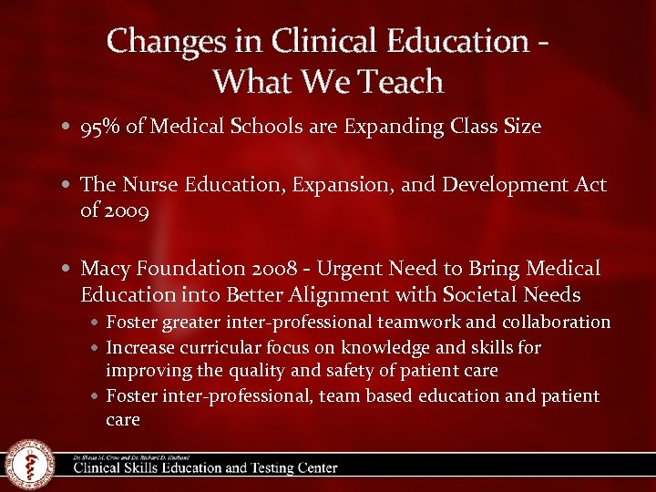Changes in Clinical Education What We Teach 95% of Medical Schools are Expanding Class