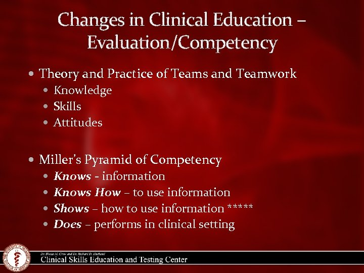 Changes in Clinical Education – Evaluation/Competency Theory and Practice of Teams and Teamwork Knowledge