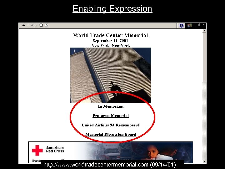 Enabling Expression http: //www. worldtradecentermemorial. com (09/14/01)