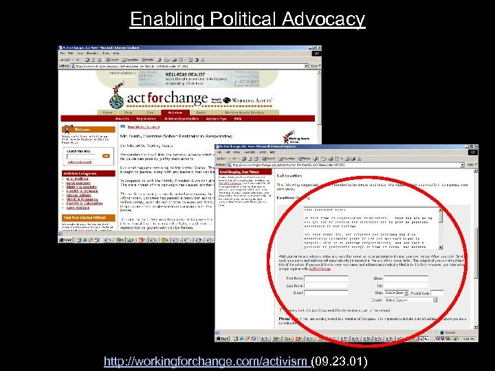 Enabling Political Advocacy http: //workingforchange. com/activism (09. 23. 01)
