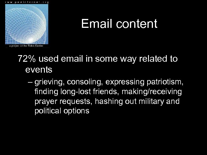 Email content 72% used email in some way related to events – grieving, consoling,