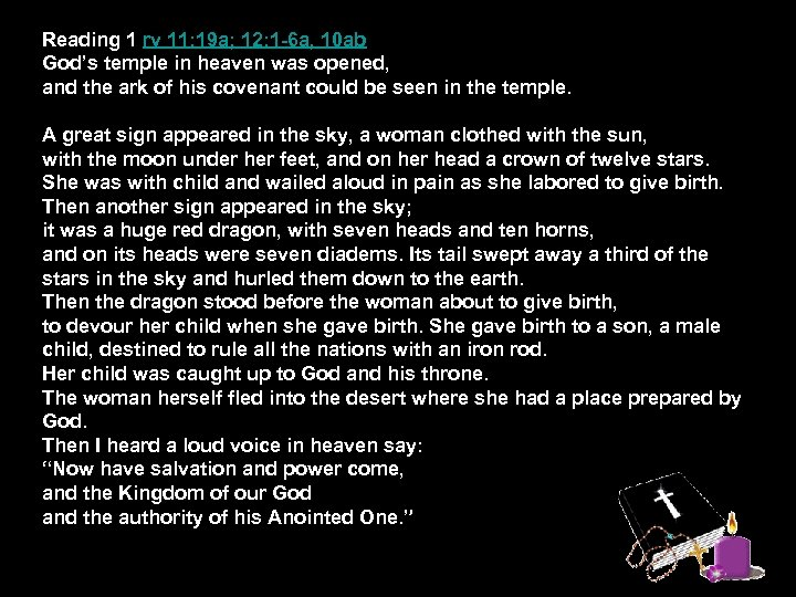 Reading 1 rv 11: 19 a; 12: 1 -6 a, 10 ab God's temple