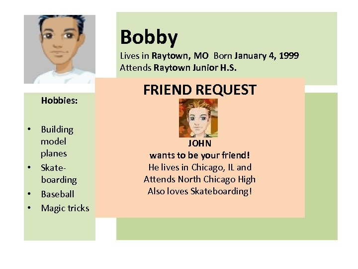 Bobby Lives in Raytown, MO Born January 4, 1999 Attends Raytown Junior H. S.