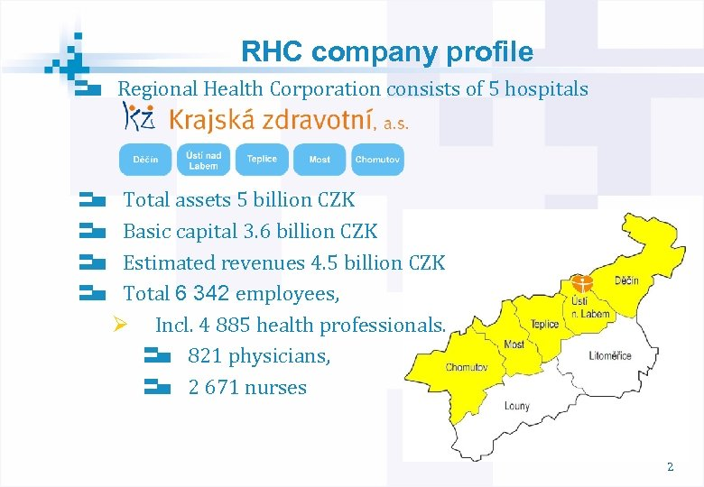 RHC company profile Regional Health Corporation consists of 5 hospitals Total assets 5 billion