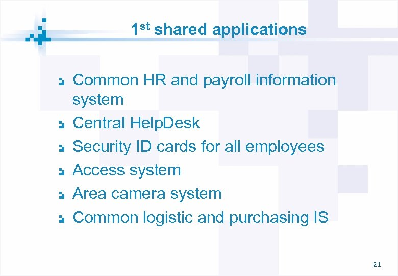 1 st shared applications Common HR and payroll information system Central Help. Desk Security