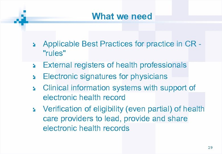 What we need Applicable Best Practices for practice in CR