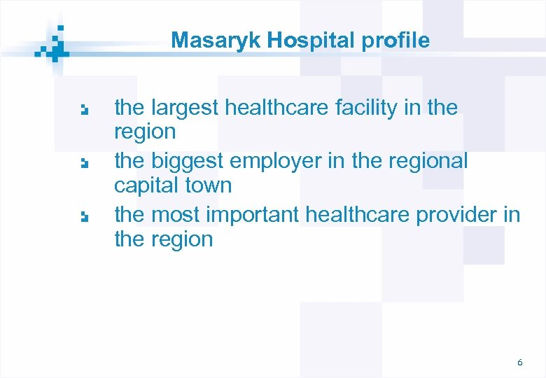 Masaryk Hospital profile the largest healthcare facility in the region the biggest employer in
