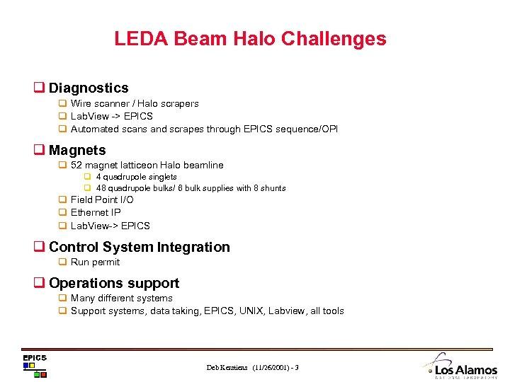 LEDA Beam Halo Challenges q Diagnostics q Wire scanner / Halo scrapers q Lab.