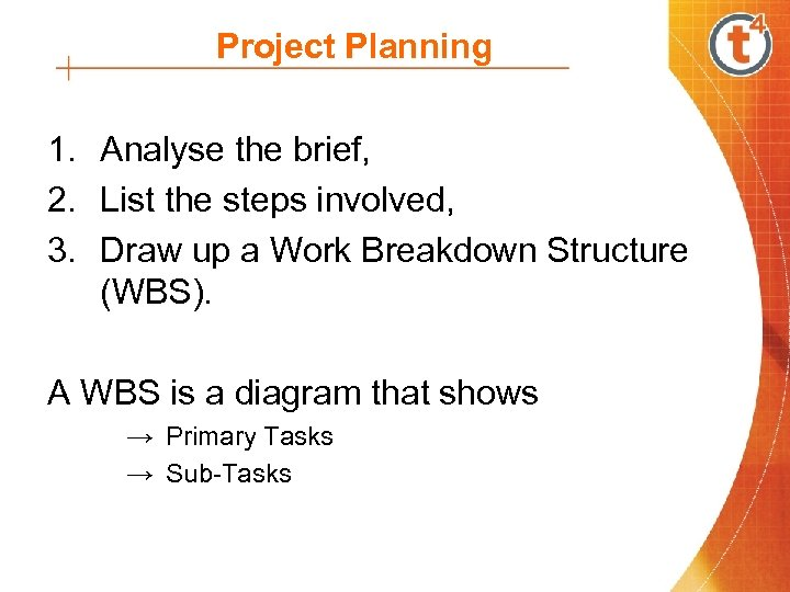 Project Planning 1. Analyse the brief, 2. List the steps involved, 3. Draw up