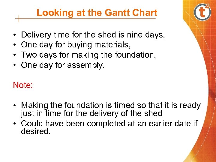 Looking at the Gantt Chart • • Delivery time for the shed is nine