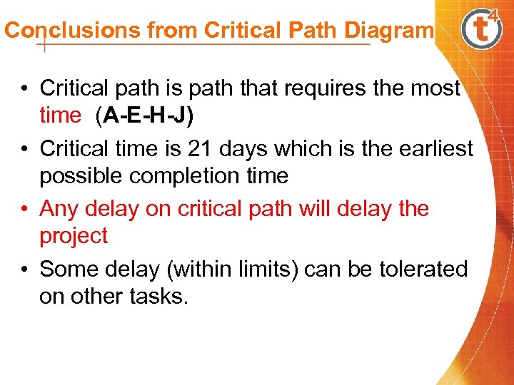 Conclusions from Critical Path Diagram • Critical path is path that requires the most