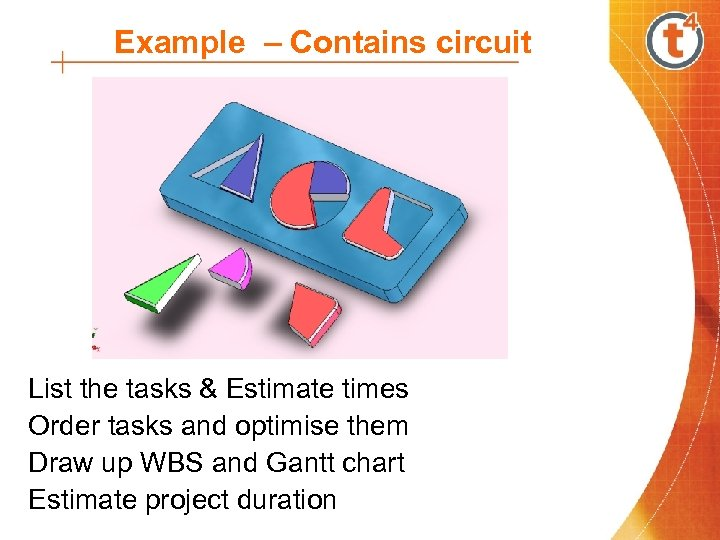 Example – Contains circuit List the tasks & Estimate times Order tasks and optimise