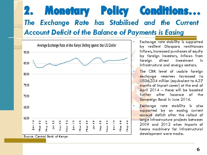 2. Monetary Policy Conditions… The Exchange Rate has Stabilised and the Current Account Deficit