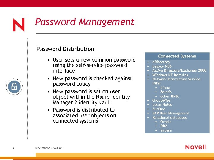Password Management Password Distribution • User sets a new common password using the self-service