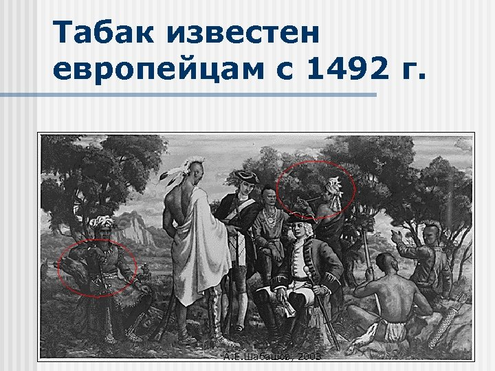 Табак известен европейцам с 1492 г. А. Е. Шабашов, 2003