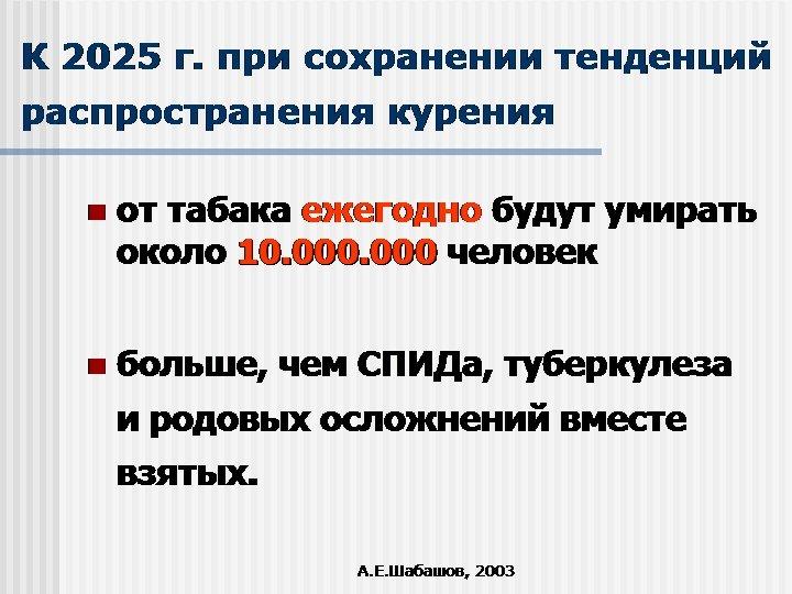 К 2025 г. при сохранении тенденций распространения курения n от табака ежегодно будут умирать