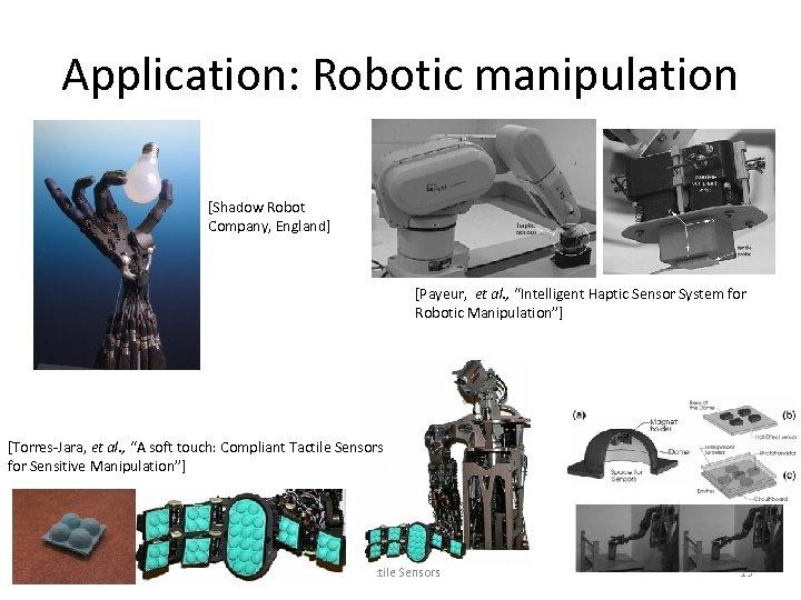 "Application: Robotic manipulation [Shadow Robot Company, England] [Payeur, et al. , ""Intelligent Haptic Sensor"