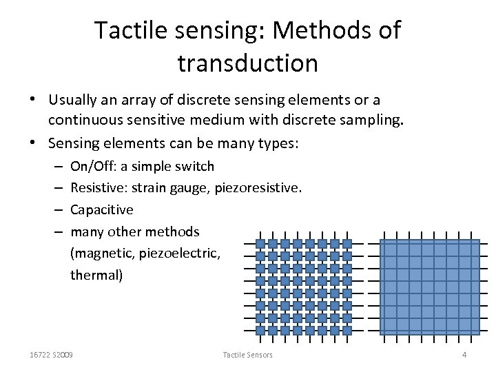 Tactile sensing: Methods of transduction • Usually an array of discrete sensing elements or
