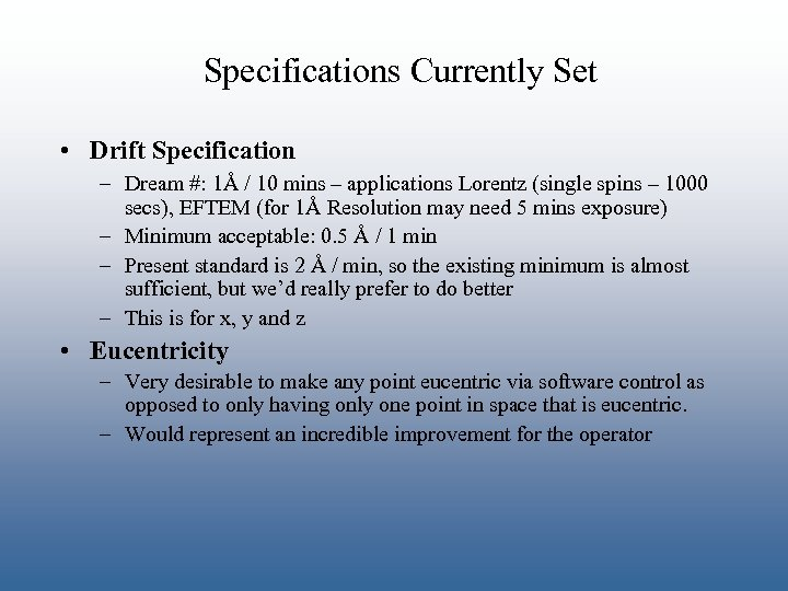 Specifications Currently Set • Drift Specification – Dream #: 1Å / 10 mins –