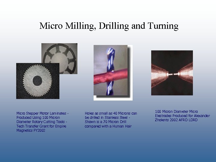 Micro Milling, Drilling and Turning Micro Stepper Motor Laminates Produced Using 100 Micron Diameter