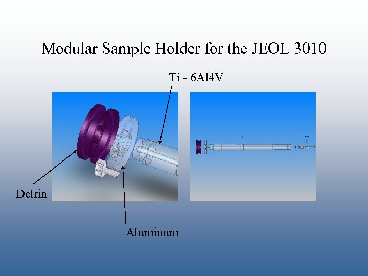 Modular Sample Holder for the JEOL 3010 Ti - 6 Al 4 V Delrin