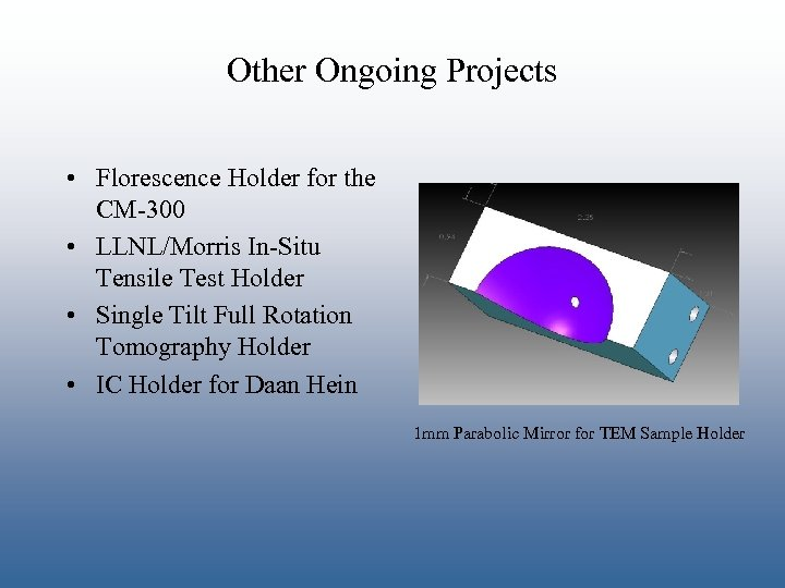 Other Ongoing Projects • Florescence Holder for the CM-300 • LLNL/Morris In-Situ Tensile Test