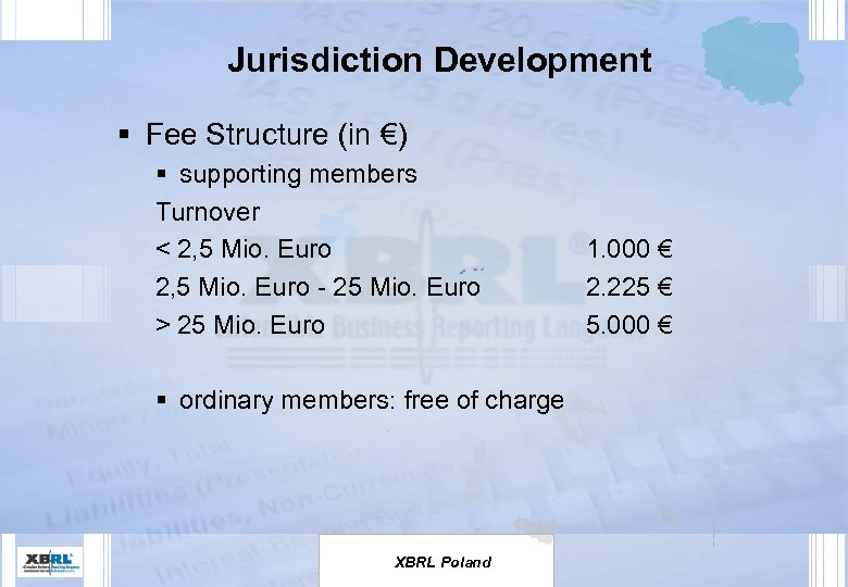 Jurisdiction Development § Fee Structure (in €) § supporting members Turnover < 2, 5