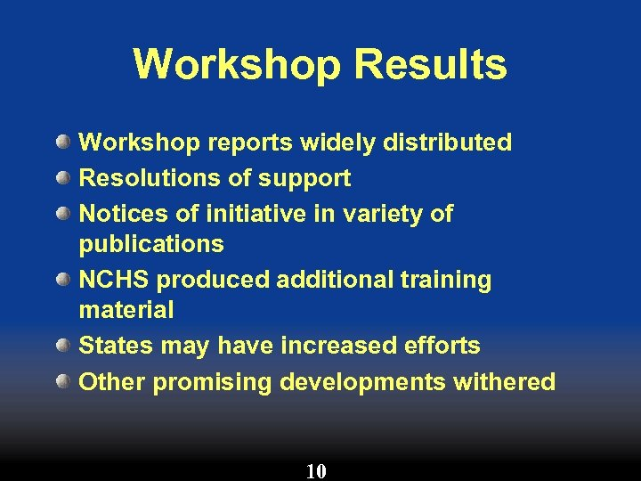 Workshop Results Workshop reports widely distributed Resolutions of support Notices of initiative in variety