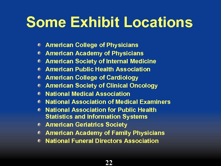 Some Exhibit Locations American College of Physicians American Academy of Physicians American Society of