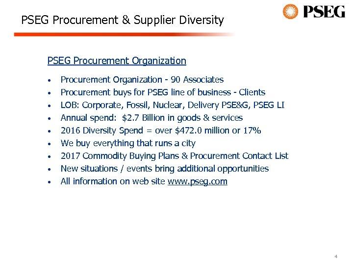 PSEG Procurement & Supplier Diversity PSEG Procurement Organization • • • Procurement Organization -