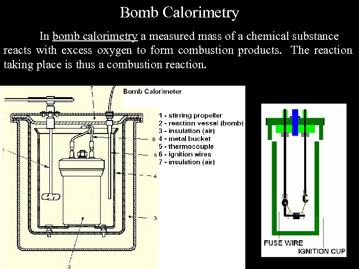 Bomb Calorimetry In bomb calorimetry a measured mass of a chemical substance reacts with