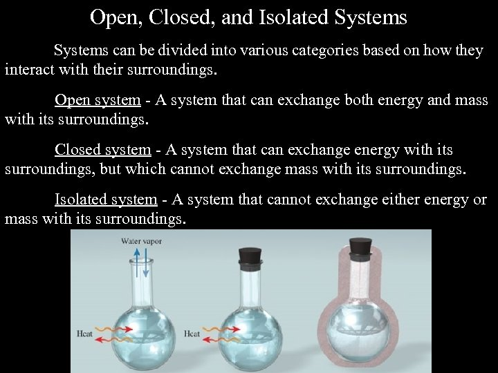 Open, Closed, and Isolated Systems can be divided into various categories based on how