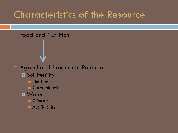 Characteristics of the Resource Food and Nutrition Agricultural Production Potential Soil Fertility Nutrients Contamination