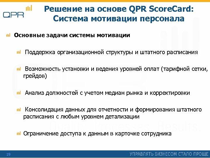 Решение на основе QPR Score. Card: Система мотивации персонала Основные задачи системы мотивации Поддержка