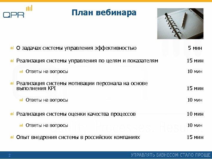 План вебинара О задачах системы управления эффективностью 5 мин Реализация системы управления по целям