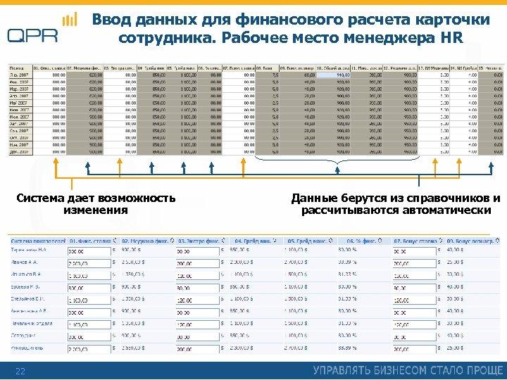 Ввод данных для финансового расчета карточки сотрудника. Рабочее место менеджера HR Система дает возможность