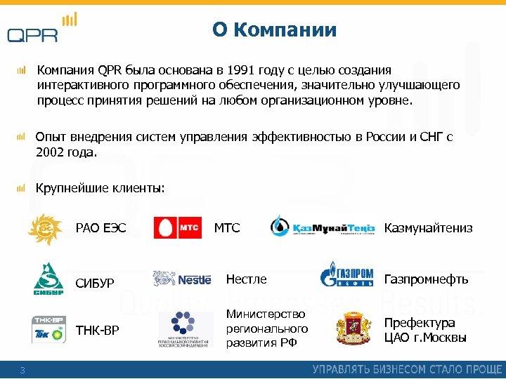 О Компании Компания QPR была основана в 1991 году с целью создания интерактивного программного