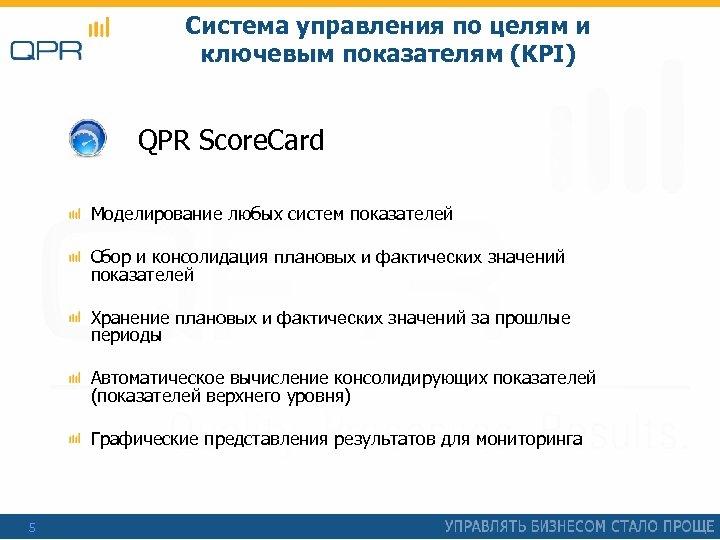 Система управления по целям и ключевым показателям (KPI) QPR Score. Card Моделирование любых систем