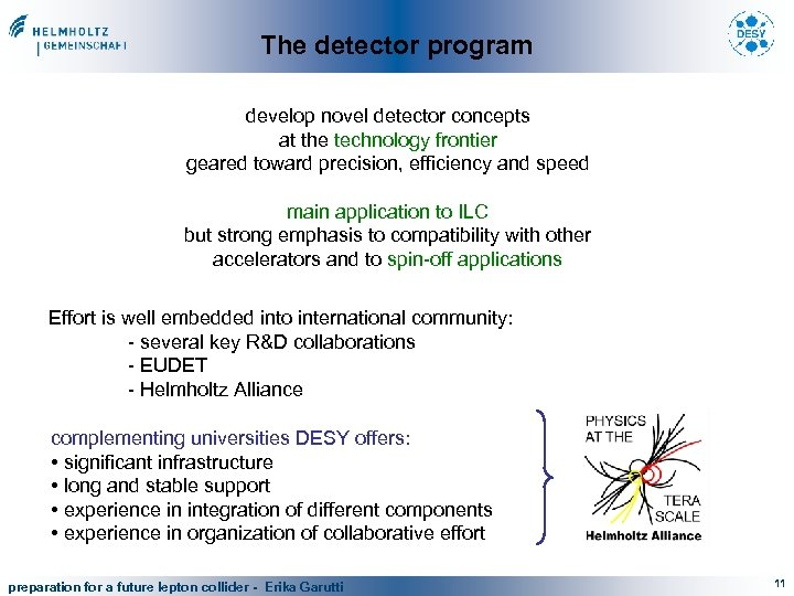 The detector program develop novel detector concepts at the technology frontier geared toward precision,