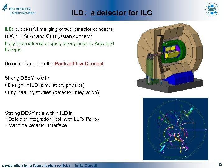 ILD: a detector for ILC ILD: successful merging of two detector concepts LDC (TESLA)
