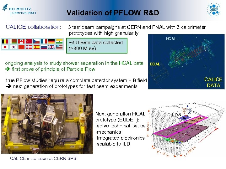 Validation of PFLOW R&D CALICE collaboration: 3 test beam campaigns at CERN and FNAL