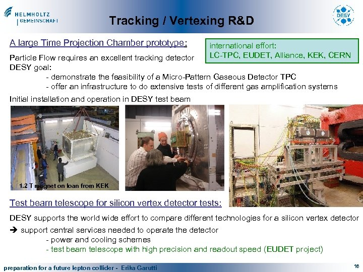 Tracking / Vertexing R&D A large Time Projection Chamber prototype: international effort: LC-TPC, EUDET,