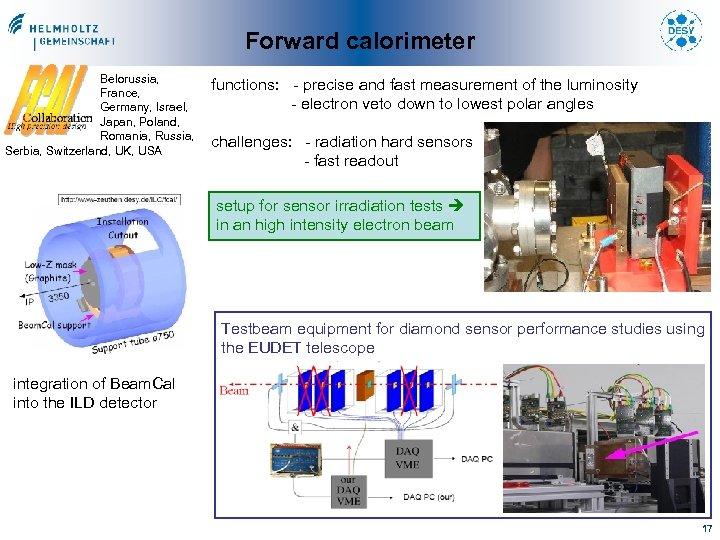 Forward calorimeter Belorussia, France, Germany, Israel, Japan, Poland, Romania, Russia, Serbia, Switzerland, UK, USA