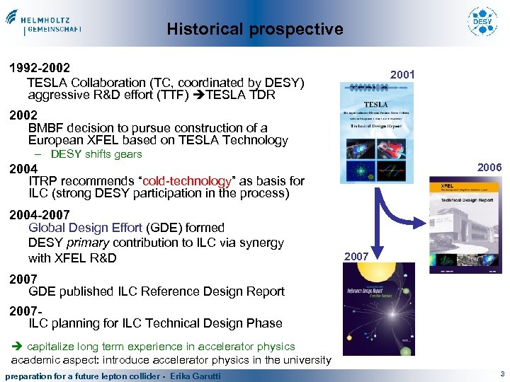 Historical prospective 1992 -2002 TESLA Collaboration (TC, coordinated by DESY) aggressive R&D effort (TTF)