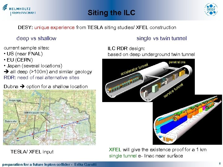 Siting the ILC DESY: unique experience from TESLA siting studies/ XFEL construction deep vs