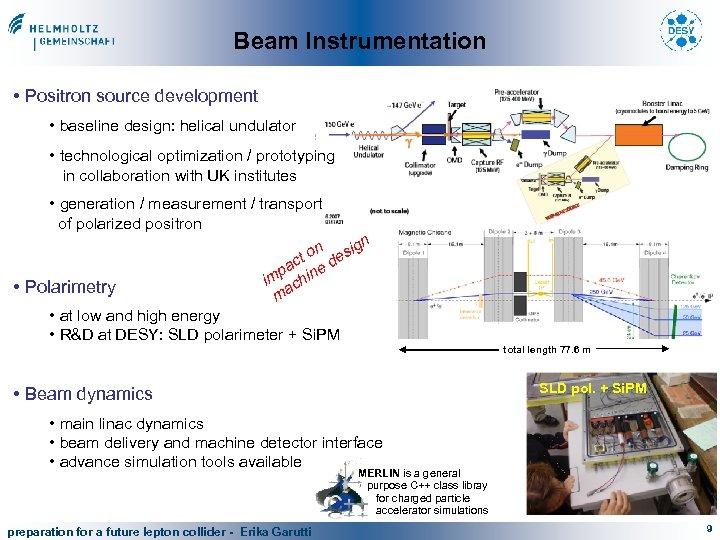 Beam Instrumentation • Positron source development • baseline design: helical undulator • technological optimization
