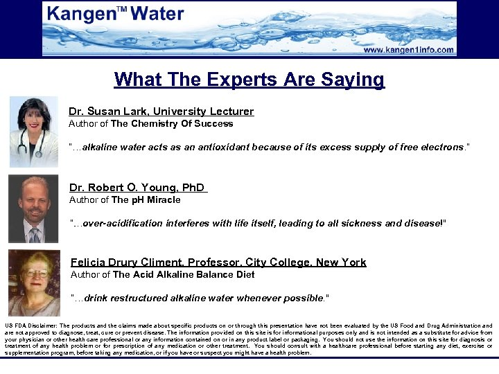 What The Experts Are Saying Dr. Susan Lark, University Lecturer Author of The Chemistry